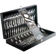 EURO HOME - Faqueiro Premium Cutlery Inox 75 Peças com Estojo de Madeira - FQM6122