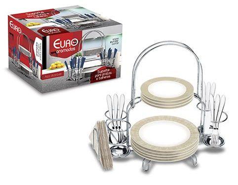 EURO HOME - Suporte para Pratos e Talheres Inox - ORG0052