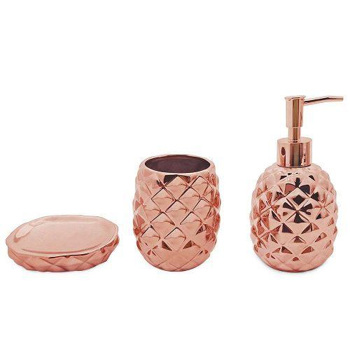 MIMO STYLE- Jogo Para Banheiro Abacaxi Bronze 3 Peças- BH1780B