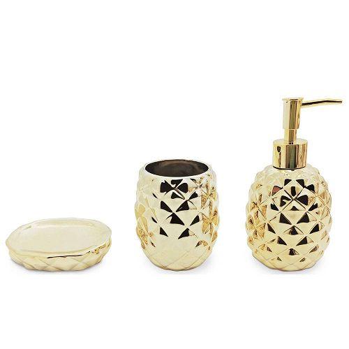 MIMO STYLE- Jogo Para Banheiro Abacaxi Dourado 3 Peças- BH1780D
