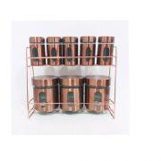 TOP RIO- Porta Condimentos Metal Rose Gold 9 Peças- TRC8309